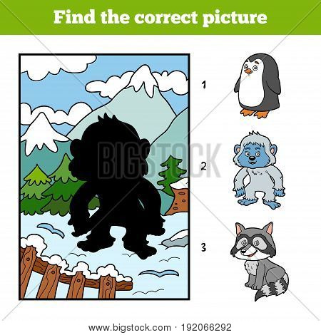 Find The Correct Picture, Game For Children, Yeti And Background