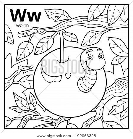 Coloring Book, Colorless Alphabet. Letter W, Worm