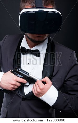 Mafioso Taking His Gun From Jacket Pocket