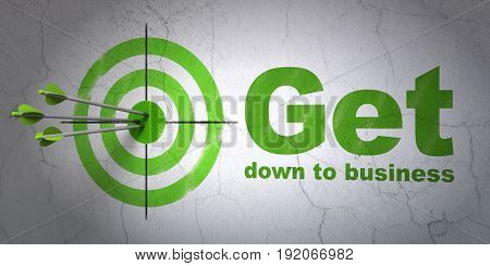 Success finance concept: arrows hitting the center of target, Green Get Down to business on wall background, 3D rendering