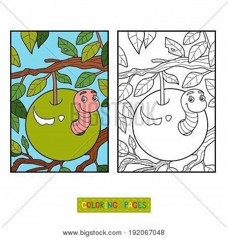 Coloring book for children, Worm in apple and background