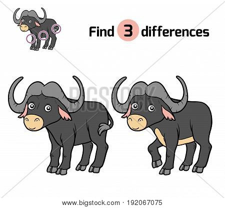 Find differences, education game for children, African buffalo