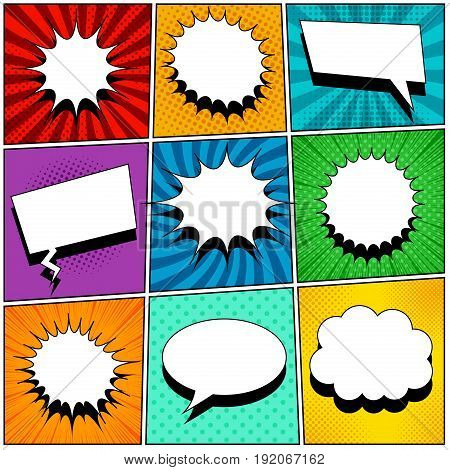 Comic book pages set with blank speech bubbles of different shapes on colorful backgrounds in pop-art style. Radial, halftone, dotted effects and rays. Vector illustration