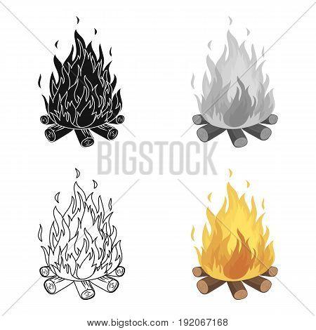 Bonfire.Tent single icon in cartoon style vector symbol stock illustration .