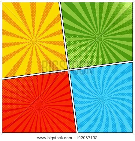 Bright comic book page template with radial and halftone effects in pop-art style. Blank template in green, orange, blue and red colors. Vector illustration