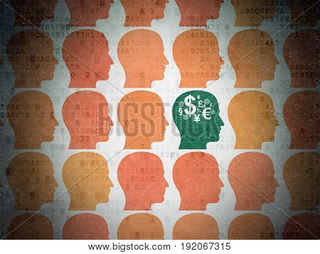 Finance concept: rows of Painted orange head icons around green head with finance symbol icon on Digital Data Paper background