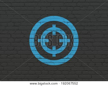 Business concept: Painted blue Target icon on Black Brick wall background