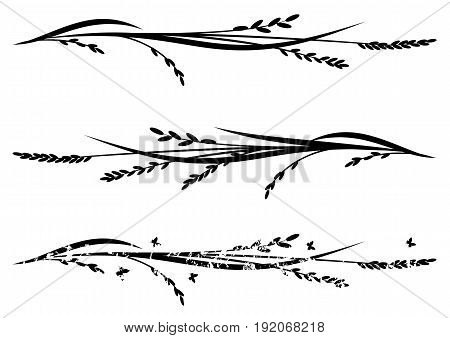 set of vector dividers with rice in black and white
