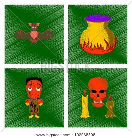 assembly flat shading style icon of cute bat potion cauldron candle skull zombie men
