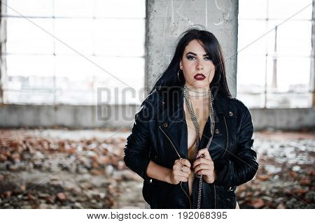 Brunette Plus Size Sexy Woman, Wear At Black Leather Jacket, Lace Panties At Abadoned Place. Woman's