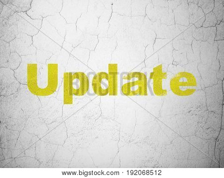 Web design concept: Yellow Update on textured concrete wall background