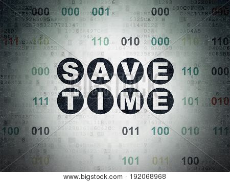 Time concept: Painted black text Save Time on Digital Data Paper background with Binary Code