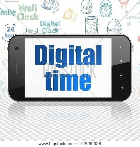 Timeline concept: Smartphone with  blue text Digital Time on display,  Hand Drawing Time Icons background, 3D rendering
