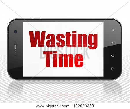 Time concept: Smartphone with red text Wasting Time on display, 3D rendering