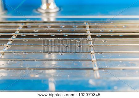 Drops of drinking water on grids of lattice