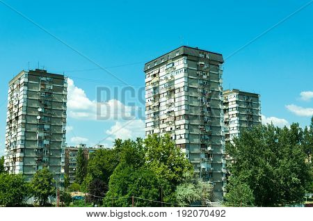 Typical socialist and communistic block of low quality buildings. Novi Sad, Serbia.
