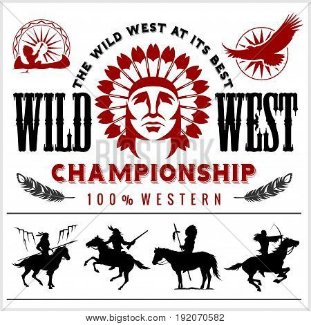 Wild West. Native american chief head illustration. Design elements for logo, label, emblem, sign. Vector illustration