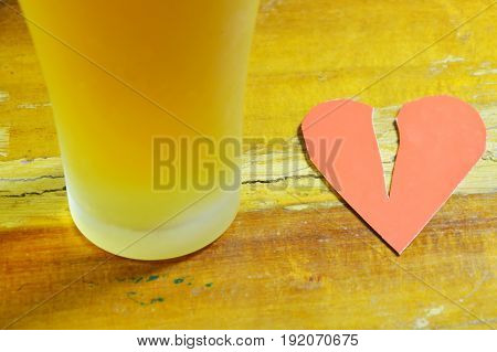 broken heart and beer for healing sadness