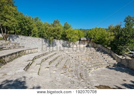 Outdoor Amphitheater in Monodendri one of the stone villages of Zagoria. Epirus Greece
