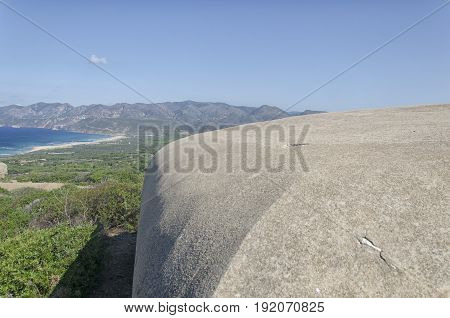 View of military fortifications along the coast of the Sardinia