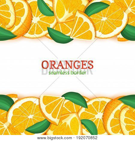 Orange fruit horizontal seamless border. Vector illustration card top and bottom Fresh tropical mandarin whole and slice for design tea, ice cream, natural cosmetics, health care products, detox diet