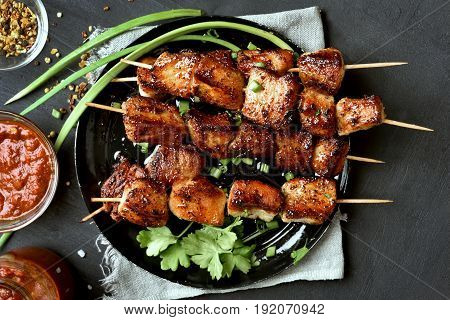 Pork kebabs bbq meat on plate top view