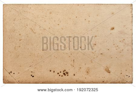 Used paper sheet. Cardboard with edges isolated on white background