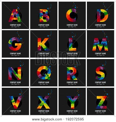 Colored English alphabet letters. Vector design template elements logo for your application or company.