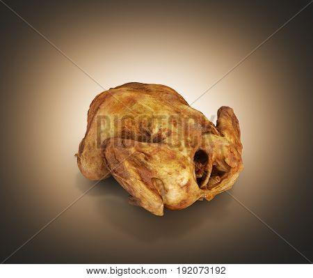 Roasted Chicken Isolated On Dark Orange Gradient Background 3D Render