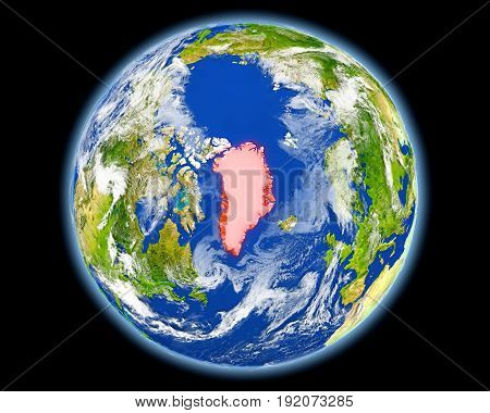 Greenland In Red From Space