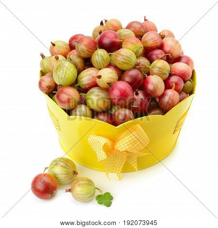 berry of gooseberry in a basket isolated on white background