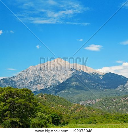 The top of the mountain Olympos (Turkey) against the blue sky