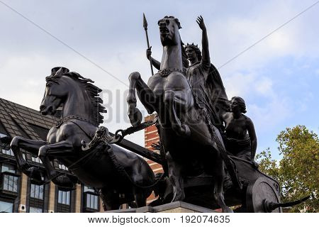 LONDON, GREAT BRITAIN - SEPTEMBER 7, 2014: This is monument to Queen Boudicca - the leader of the Celts the fallen in the defense of London in '61.