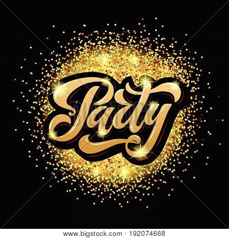 Vector Illustration Of Party Poster Template With 3D Lettering Typography.