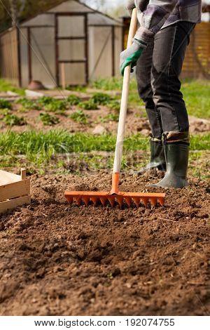 Male Gardener Raking Soil With Garden Tool Close Up. Spring Gardening.