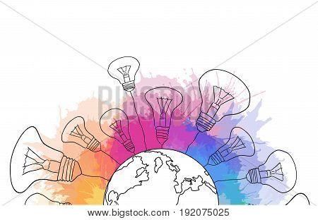 Linear illustration of a planet earth with light bulbs and rainbow watercolor sprays. Creativity idea. Vector illustration for your design
