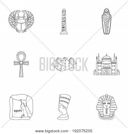 Ancient Egypt set icons in outline style. Big collection of ancient Egypt vector symbol stock