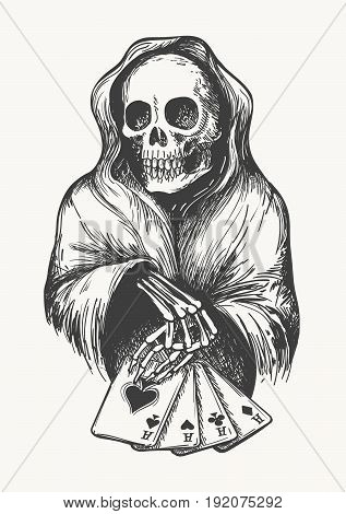 The skeleton in the hood with aces cards. Death symbol with Four Aces combination. Vector illustration in engraving style.