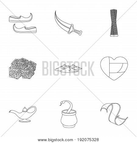 Arab Emirates set icons in outline style. Big collection of Arab Emirates vector symbol stock