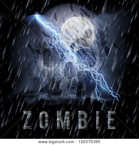 Halloween Background with Skull Zombie in a Rainy Weather