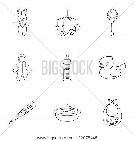 Baby born set icons in outline design. Big collection of baby born vector symbol stock illustration