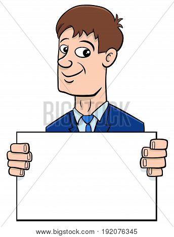 Cartoon Businessman With Board