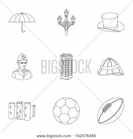 England country set icons in outline design. Big collection of England country vector symbol stock illustration.