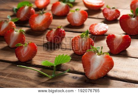 Strawberry Template On Wooden Background,