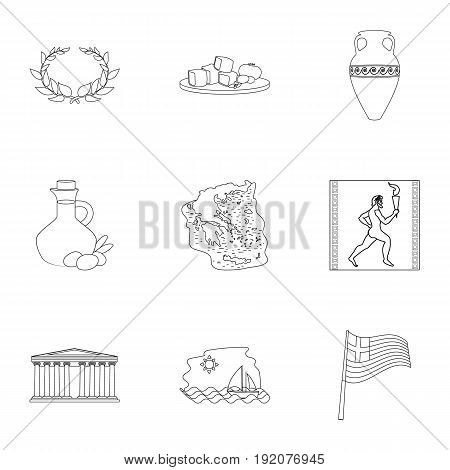 Greece set icons in outline design. Big collection of Greece vector symbol stock illustration