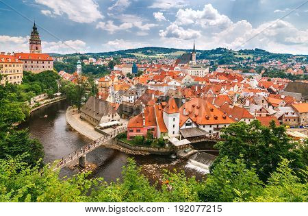 View Of Medieval City Cesky Krumlov With The Castle And Vltava R