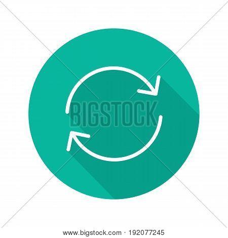 Money exchange flat linear long shadow icon. Refund. Vector line symbol