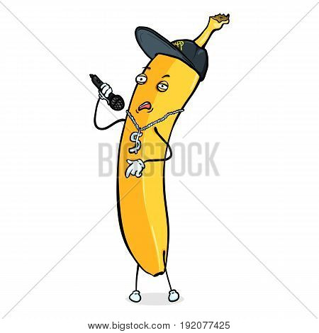 Vector Cartoon Character - Banana Rapper