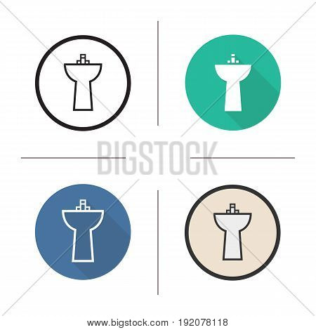 Sink icon. Flat design, linear and color styles. Washbasin. Ceramic washstand. Isolated vector illustrations