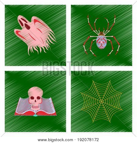 assembly flat shading style icon of ghost spider book skull spider web